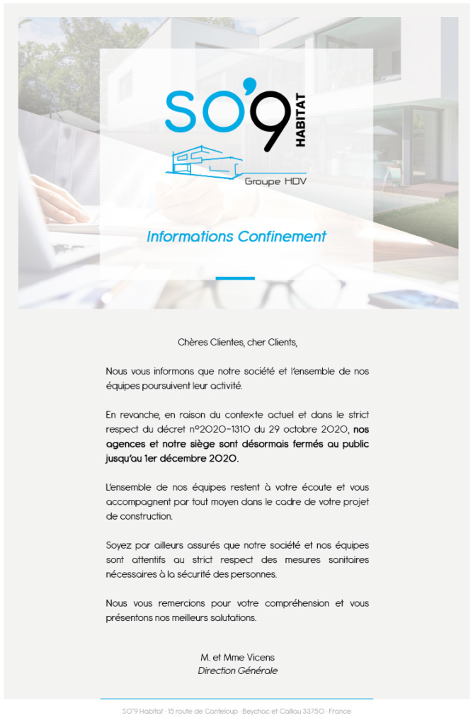 Actu SO9 Habitat INFORMATIONS CONFINEMENT